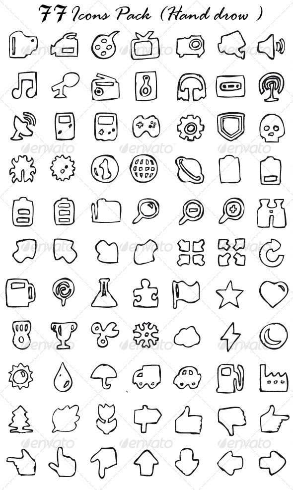 GraphicRiver 154 Icons Pack Hand Drawn 4000778