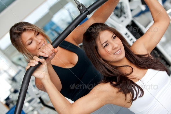 gym woman and trainer - Stock Photo - Images