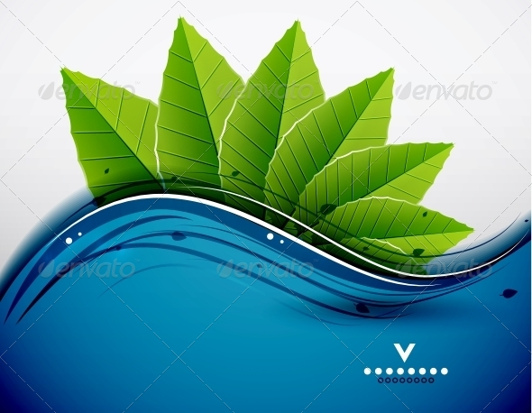 GraphicRiver Green Leaves Nature Design 4084368