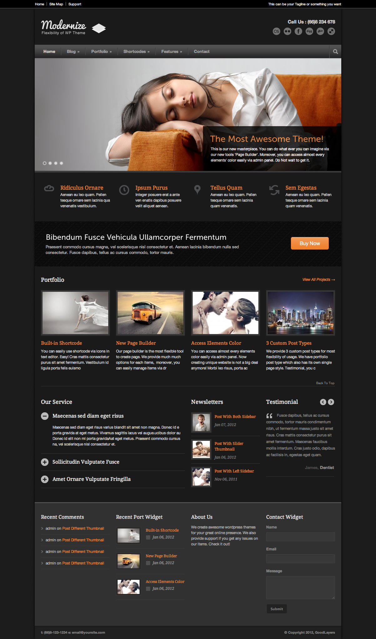 Modernize - Flexibility of WordPress - index page with color changed