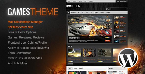 ThemeForest GamesTheme Premium WordPress Theme 4075141