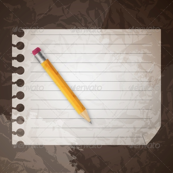 GraphicRiver Pencil on a Blank Notepad 4084415