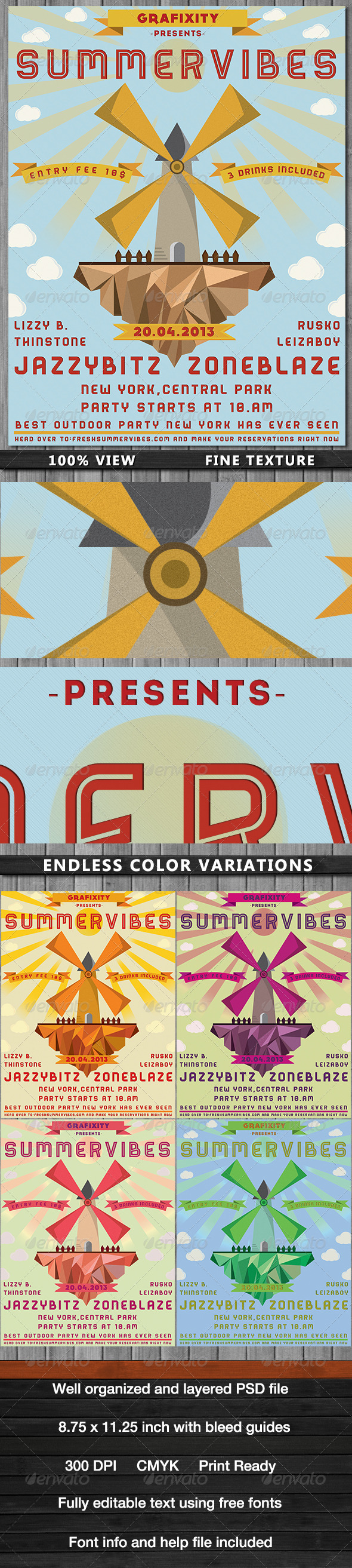 GraphicRiver SummerVibes-Retro Summer Poster Flyer 4085805