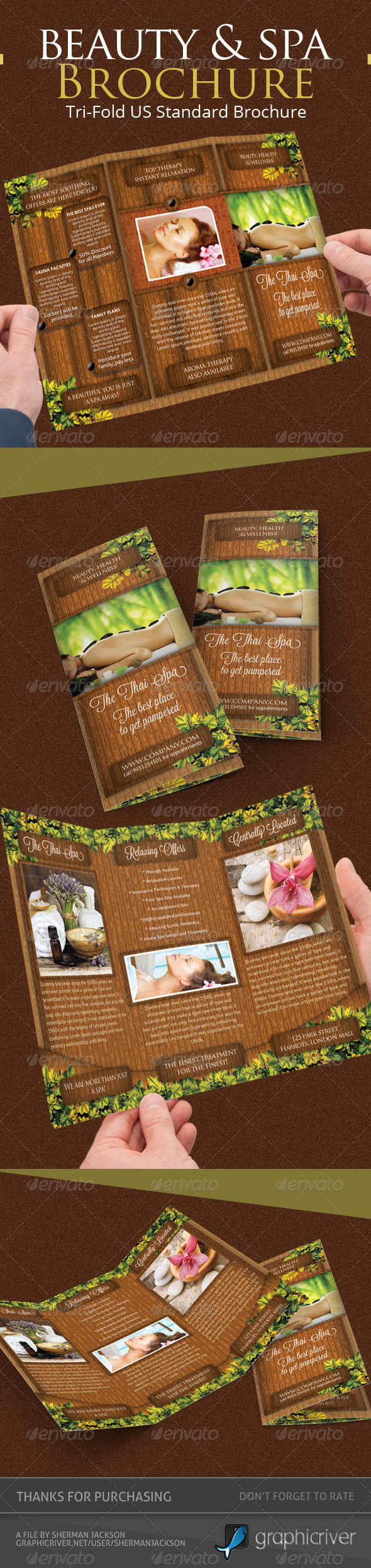 Beauty & Spa Trifold Brochure PSD Template - Brochures Print Templates