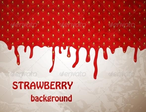 Fresh Strawberry Background Vector Illustration