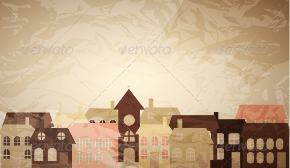 GraphicRiver Card with a Little Town 4086101