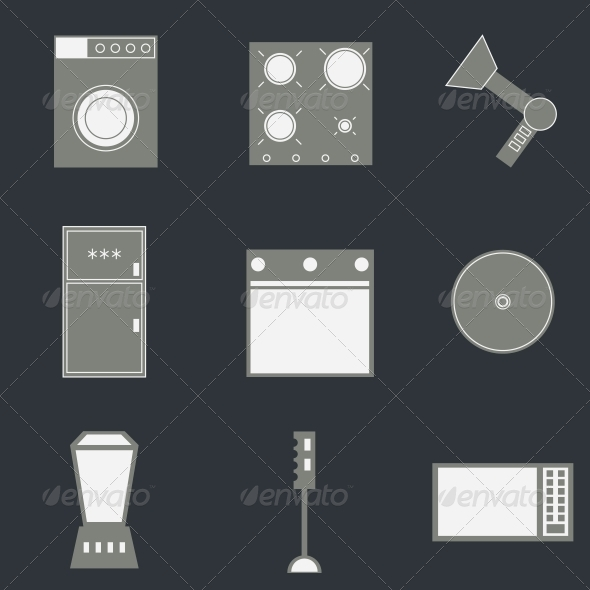 GraphicRiver Set of Household Icons 4086141