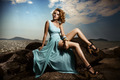 Portrait Of Fashion Woman In Blue Dress Outdoor - PhotoDune Item for Sale