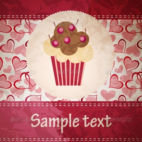 GraphicRiver Card with a Cupcake 4086454