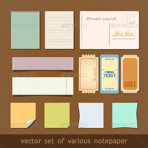 GraphicRiver Collection of Various Notes Paper and Post Card 4086616
