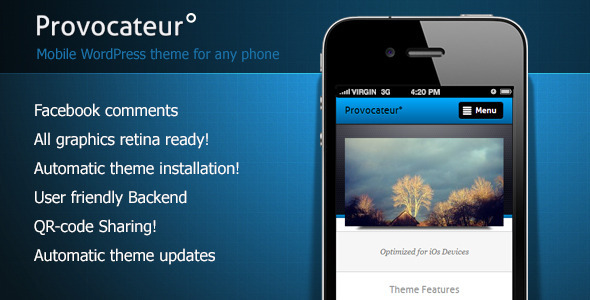 ThemeForest ProvocateurЎг Mobile WordPress Theme 4047478
