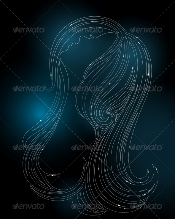 GraphicRiver Glowing Silhouette of a Woman 4086874
