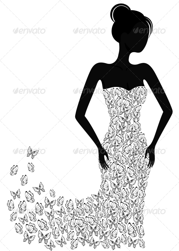 Silhouette of a Girl in a Flying Apart Dress - People Characters