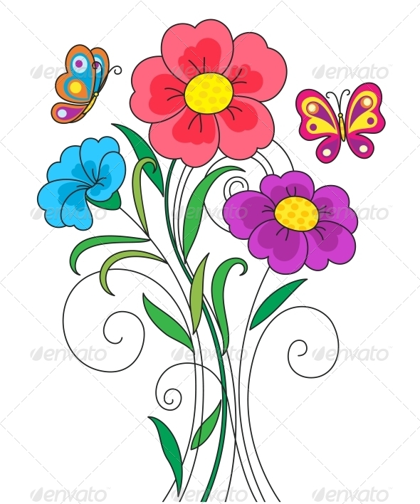GraphicRiver Kidstyle Flower Illustration 4086880