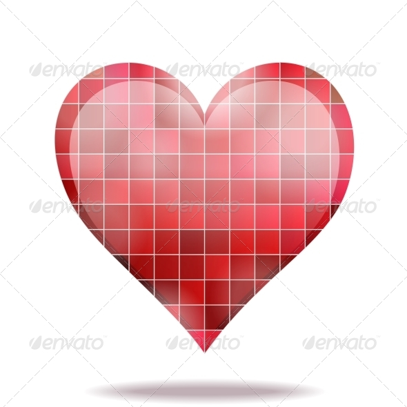 GraphicRiver Abstract Scarlet Mosaic 3D Heart Icon 4086882