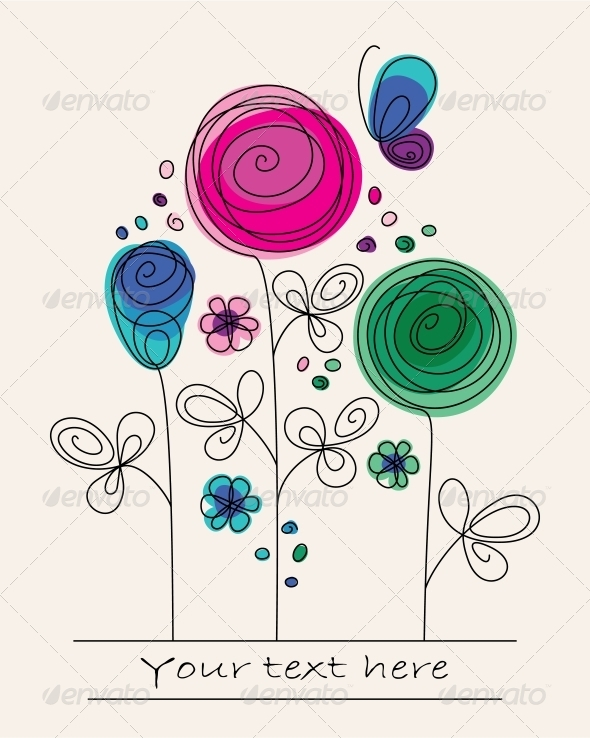 GraphicRiver Background with Abstract Flowers 4086952