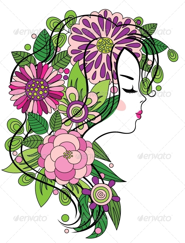 GraphicRiver Girl with Flowered Hair 4086954