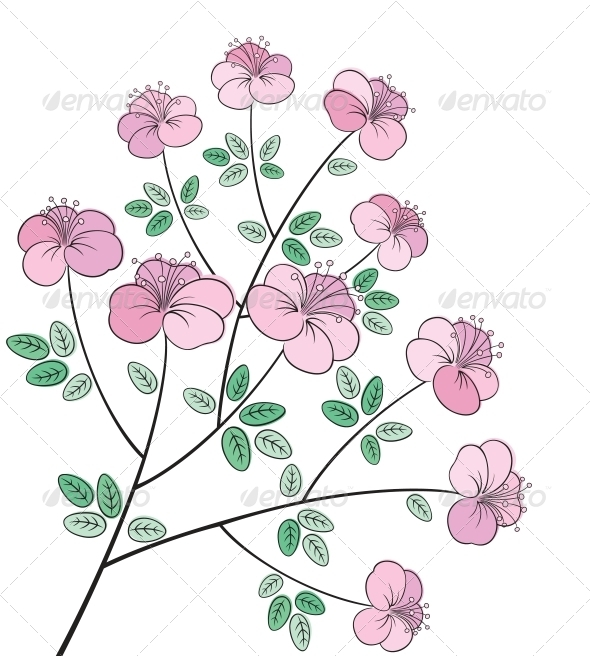 GraphicRiver Flower Line Art 4086957