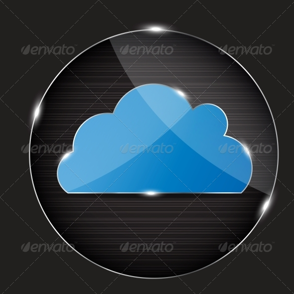 GraphicRiver Vector Glass Button with Cloud Icon 4086963
