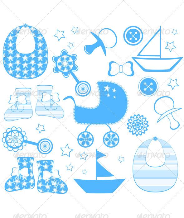 GraphicRiver Newborn Boy Collection 4086964
