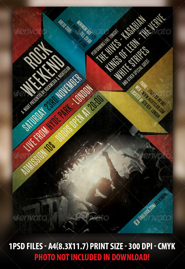 Indie Rock Concert Flyer / Poster  - Concerts Events