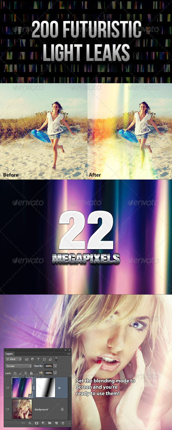 GraphicRiver 200 Futuristic Light Leaks 4087271