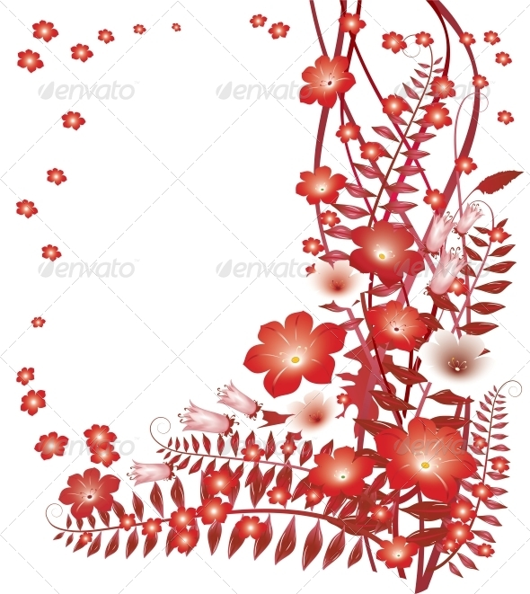 GraphicRiver Delicate Red Flowers on White Background 4087536