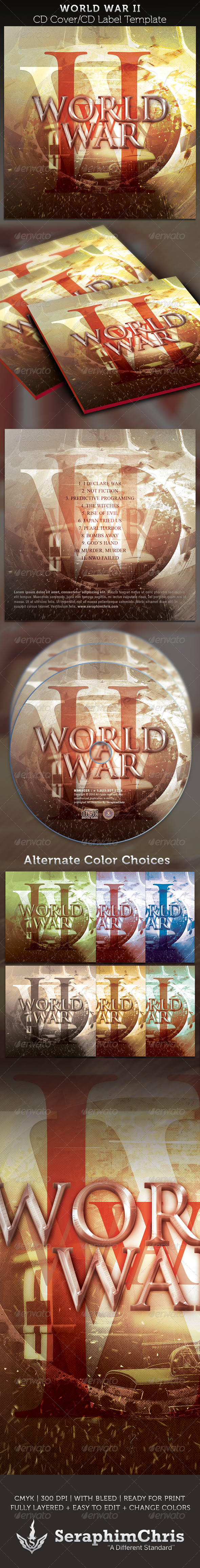World War II: CD Cover Artwork Template - CD & DVD artwork Print Templates