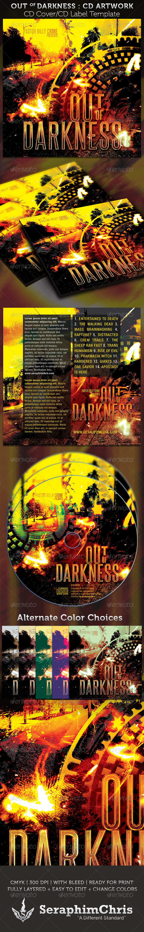 GraphicRiver Out of Darkness CD Cover Artowork Template 4087710