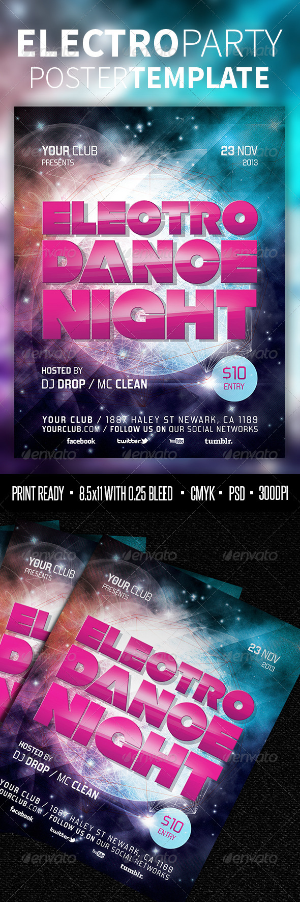 GraphicRiver Electro Party Poster Template 3960408