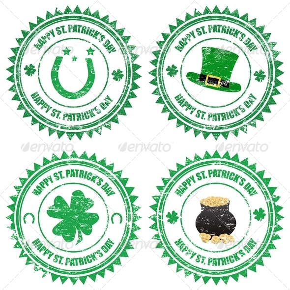 GraphicRiver Happy St Patrick s Day Stamps 4091231