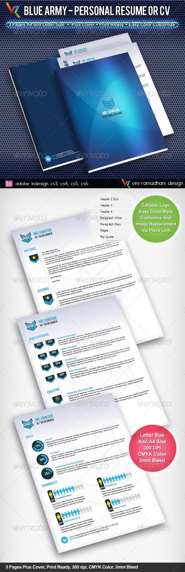 GraphicRiver Blue Army Resume Or CV 4091525