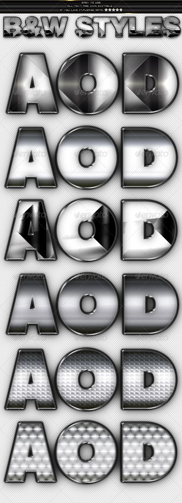 Metal & Chrome Styles - Text Effects Styles