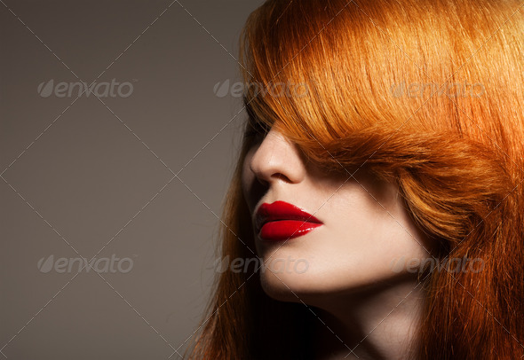 Beauty Portrait. Healthy Bright Hair - Stock Photo - Images