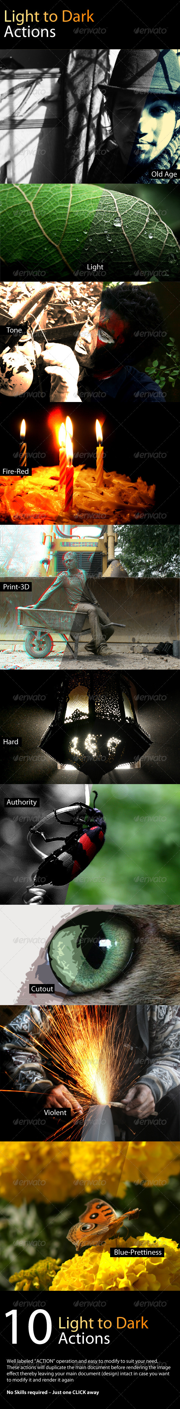 GraphicRiver 10 Light to Hard Photoshop Actions 4092909