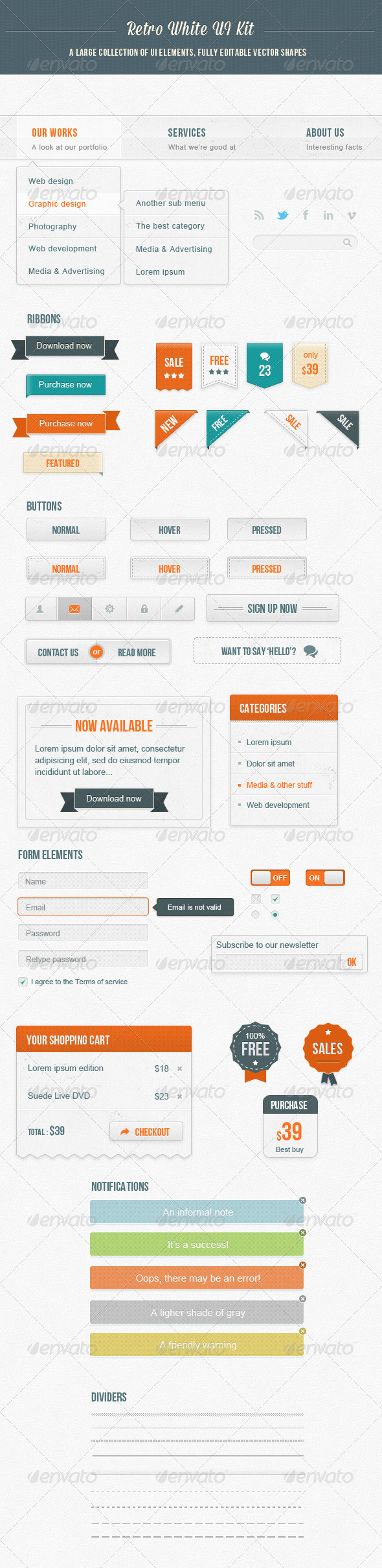 GraphicRiver Retro White Ui Kit 4092915