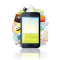 Smartphone, surrounded by Media Apps Icons. - PhotoDune Item for Sale