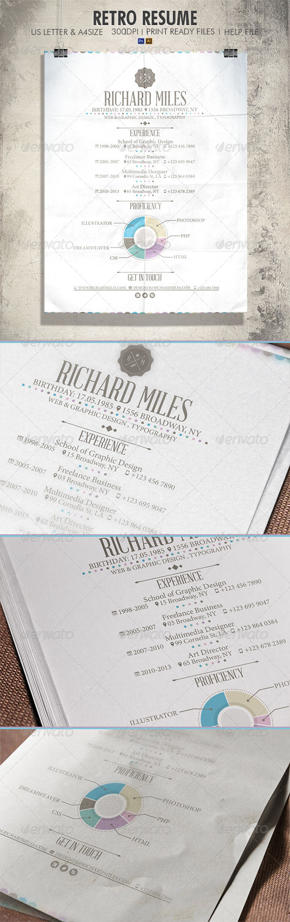 GraphicRiver Retro Resume 4093404