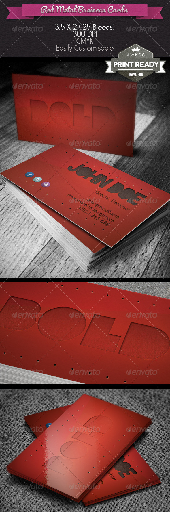 GraphicRiver Red Metal Business Card 4093653
