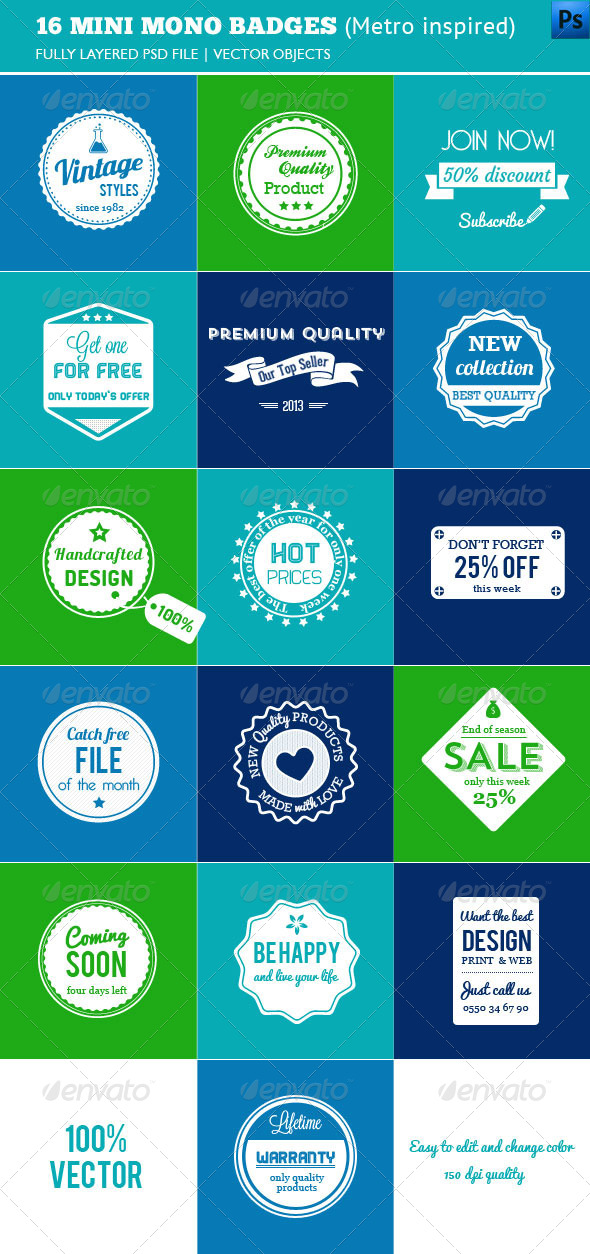GraphicRiver 16 Mini Mono Badges 4094147