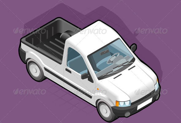 GraphicRiver Isometric Pickup White Van 4094221