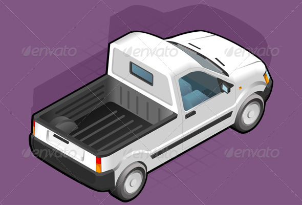 GraphicRiver Isometric Pickup White Van 4094232