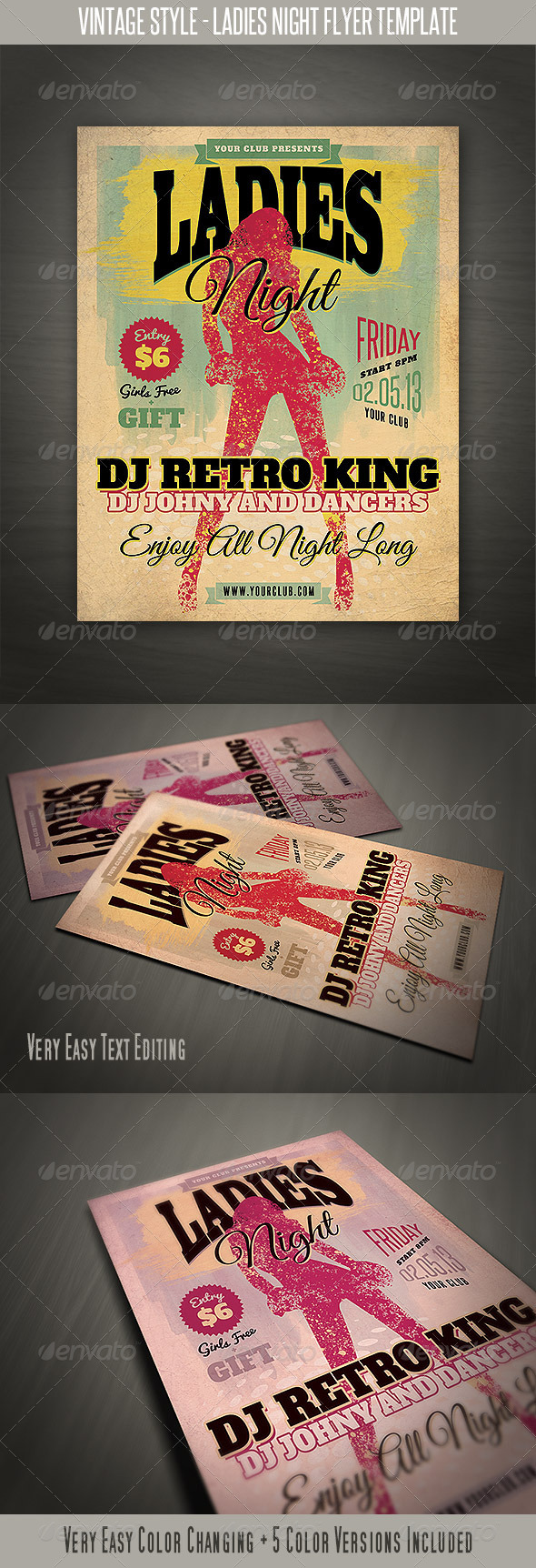 GraphicRiver Vintage Style Ladies Night Flyer 4094308