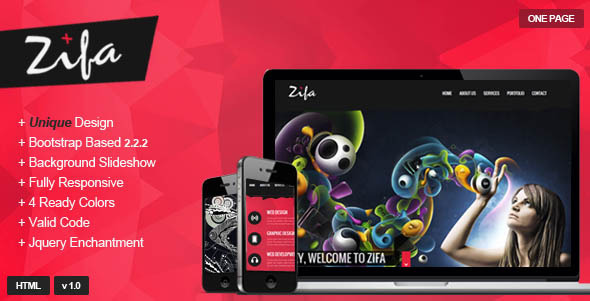 ThemeForest Zifa Responsive OnePage Theme 4086107