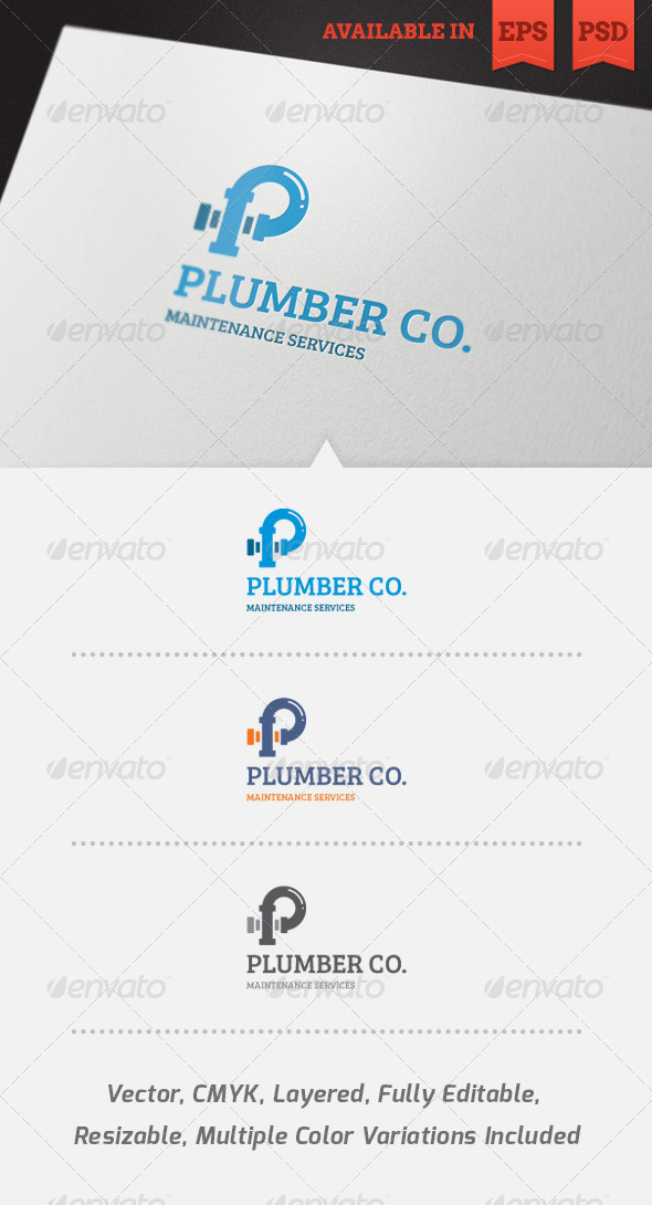 GraphicRiver Plumber Logo Template 4094719