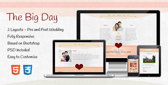 ThemeForest The Big Day Responsive One-Page Wedding Template 4094726