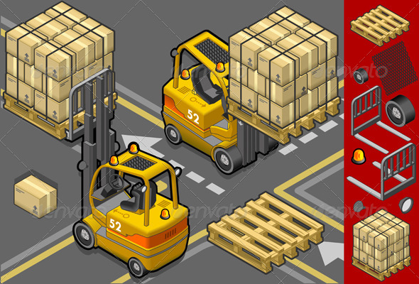 GraphicRiver Isometric Forklift in Two Positions 4094802