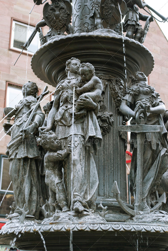 Fountain of the Virtues in Nuremberg - Stock Photo - Images