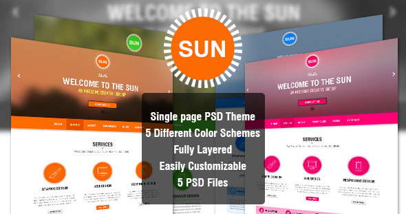 ThemeForest SUN Single Page PSD Theme 4074045