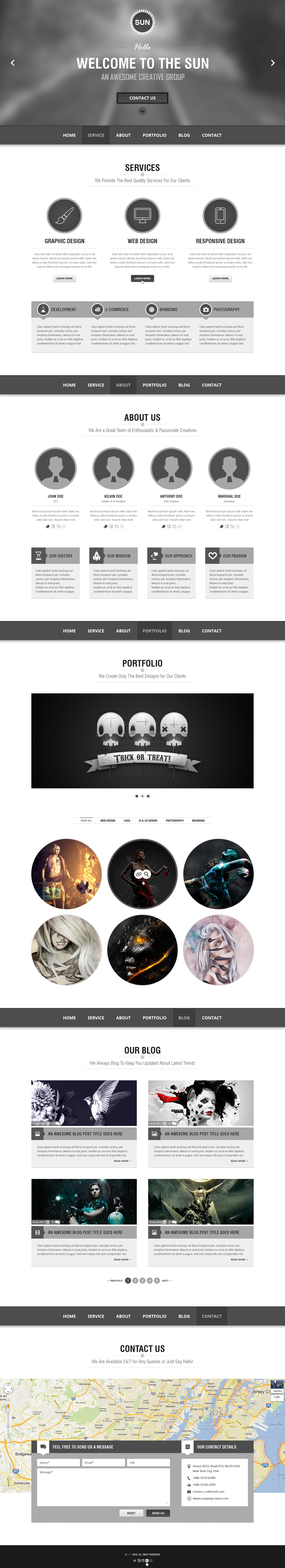 SUN - Single Page PSD Theme